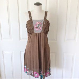 Krista Lee M Brown Embroidered Beaded Boho Dress